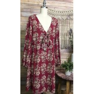 American Eagle Floral Long Sleeve Printed Sun Dres